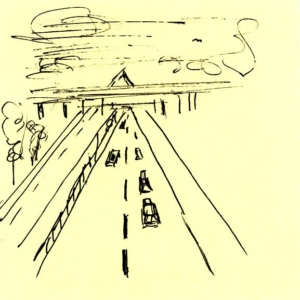 Skizze Reise Journey Autobahn
