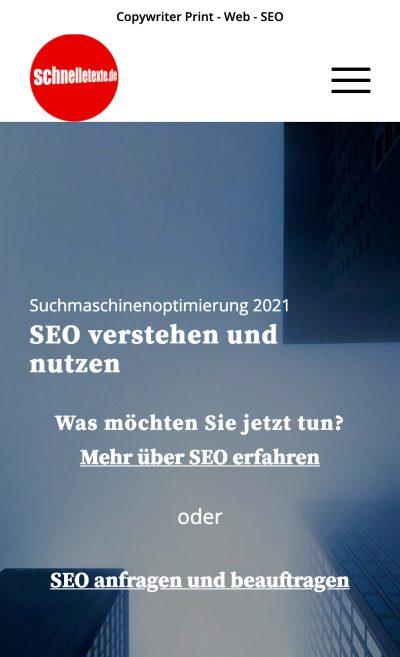 Website Mobilansicht nach SEO / UX-Optimierung