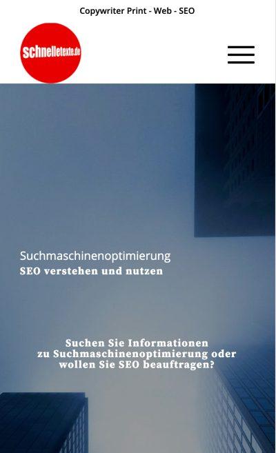 Website Mobilansicht vor SEO / UX-Optimierung